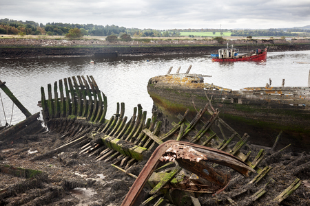 boat accident: A wreckage of an abandoned ship anchored in Bowling. Scotland