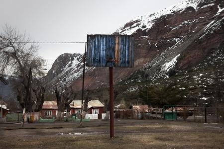 Basketball in a village in Cajon del Maipo. Chile Stock Photo