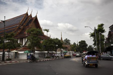 Bangkok, Tahiland-July 14, 2009: Market and shops in a street of Bangkok outside of Royal palace Editorial