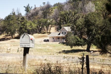 Letter box for a farm in California Stock Photo