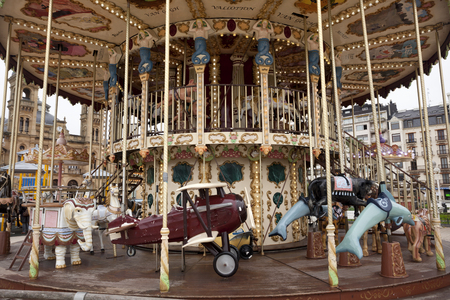 San Sebastian, Spain-December 19, 2014: Old merry-go-round in front of the city hall of San Sebastián. The Basque country Stock Photo