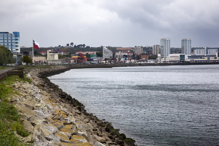 Puerto Montt, Chile-October 17, 2014: Views of Puerto Montt city from the pier