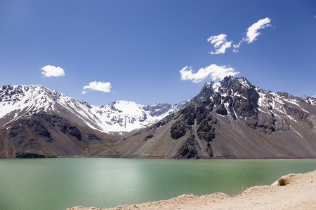 Lake of Yeso. Cajon del Maipo. Santiago of Chile Stock Photo