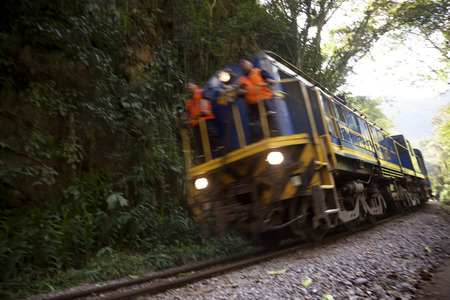 Aguas Calientes, Peru-June 3, 2015: Moving train from Aguas Calientes to Cuzco in Incas way
