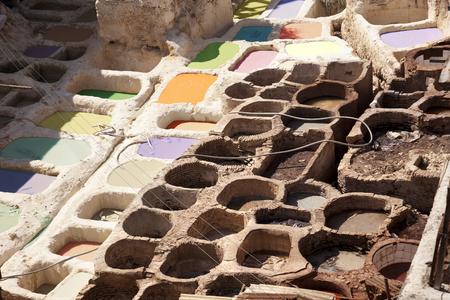 Dye factory in Fez. Morocco