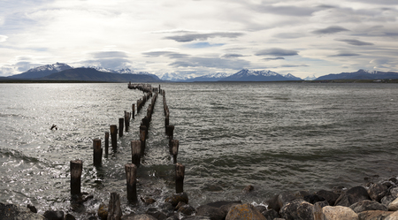 Old pier in Perto Natales. Patagonia Stock Photo