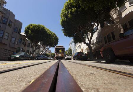 San Francisco, USA-June 20, 2017: Views of San Francisco streetcars and theirs rails Archivio Fotografico - 138828159
