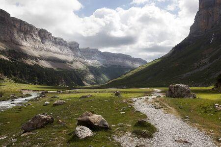 Way to Ordea-Monte Perdido National Park in Huesca's Pyrenees. Aragon, Spain