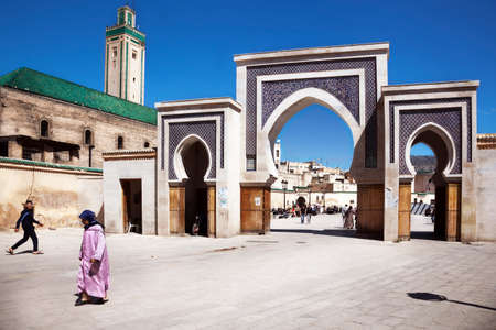 Fez, Morocco. April 25, 2014: One of the entrance doors to the old city of fez Editoriali