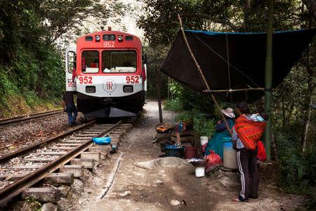 Aguas Calientes, Peru-June 3, 2015: Moving train from Aguas Calientes to Cuzco in Inca's way