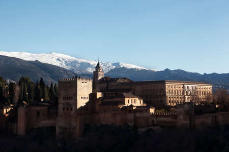 Granada, Spain-Jenuary 17, 2017: Many tourists visit La Alhambra in Granada. one of the most important monuments in the world