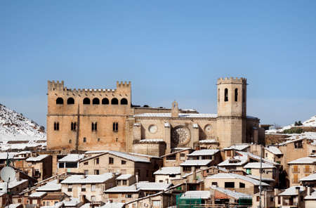 Valderrobres, Spain. January 23, 2020: View of the medieval Village in Teruel province with Calatravo Castle
