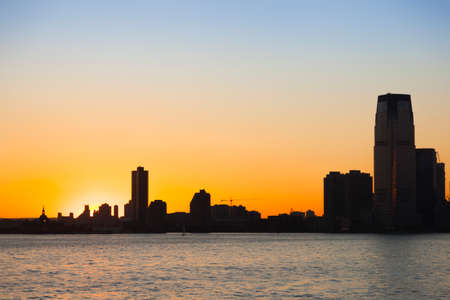 Sunset in New York from Staten Island Banco de Imagens
