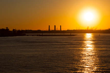 Sunset in New York from Staten Island Banco de Imagens - 157547595