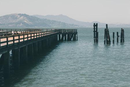 Pier in Sn Francisco bay. Near the Golden Gate bridge