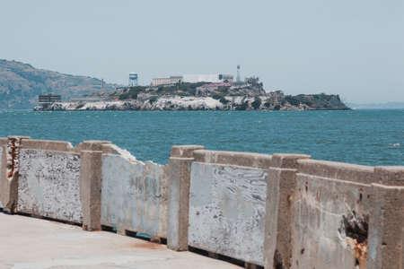 Pier in front of Alcatraz jail. San Francisco Archivio Fotografico