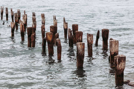 The remains of an old pier, now a resting place for seabirds. Puerto Natales, Chilean Patagonia.