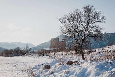Snowy fields in Matarranya. Teruel province. Spain