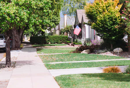 California, USA-June 12, 2017: Typical front yards of residential houses in the united states