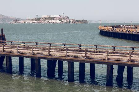 Pier in front of Alcatraz jail. San Francisco Editoriali