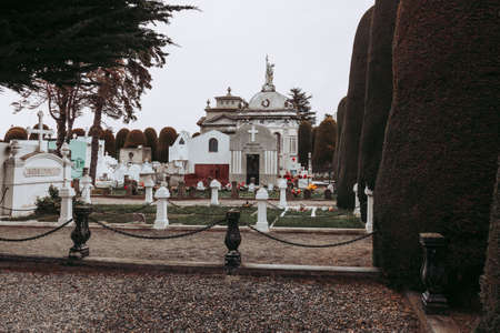 White cross and interior of the cemetery of Punta Arenas Editoriali