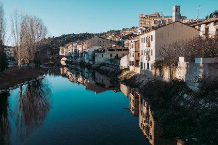 Valderrobres, Spain-November 21, 2020: Views of the Matarranya river as it passes through the town of Valderrobres. Teruel province