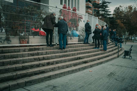 Badalona, Spain-December 24, 2020: Nursing homes for the elderly were greatly affected by the Covid 19 pandemic and families have to follow rigid security protocols to visit relatives