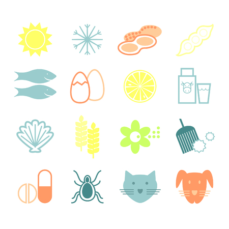 Allergy. Signs of species, allergies. Dust, pollen, animals, cereals, milk, nuts, cold, sun. Vector. Иллюстрация