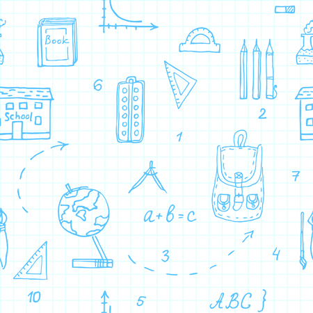 School. Seamless pattern. Drawing by hand. Vector.