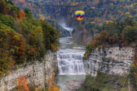 Hot Air Balloon Over The Middle Falls At Letchworth State Park photo