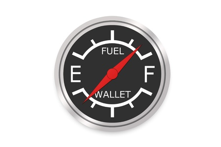 fuel economy: Fuel Gauge Concept Showing How Gas Empties Your Wallet
