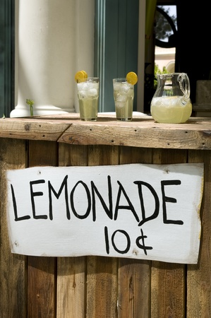 Lemonade Stand With White Sign Stock Photo - 11178211