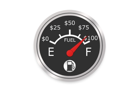 car gas: Fuel Gauge Concept Showing The Raising Cost As You Fill Up - High Resolution Image