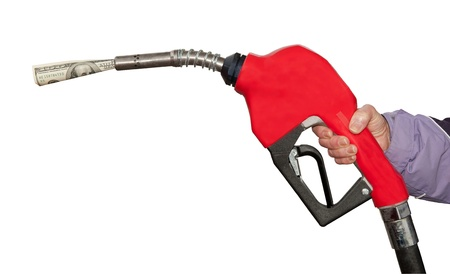 Gas Pump With A One Hundred  Dollar Bill On White Background Stock Photo