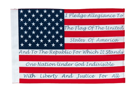 pledge: American Flag With The Pledge Of Allegiance Printed On The Stripes Editorial