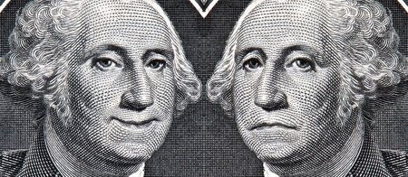 George Washington Dollar Bill with a Smile and a Frown