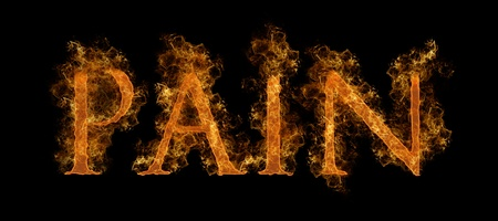 burning alphabet: The Word Pain In Flaming Hot Text