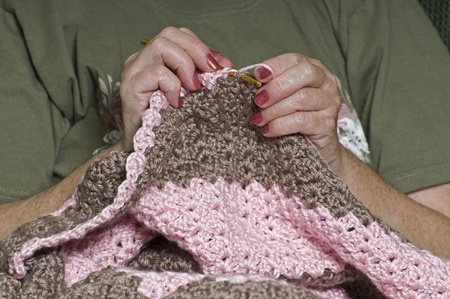 Womans Hands Crocheting
