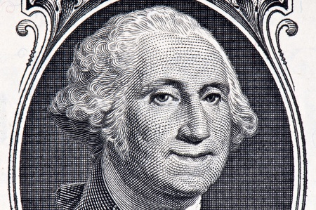 george washington: George Washington on a Dollar Bill with a Smile on his Face