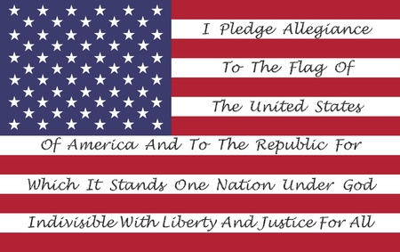 pledge of allegiance: American Flag With The Pledge Of Allegiance Printed On The Stripes Stock Photo