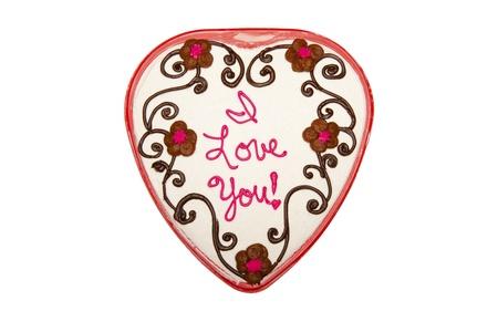 Heart Shaped Cake with I Love You