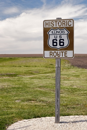 route 66: Historic Route 66 Road Sign in Illinois