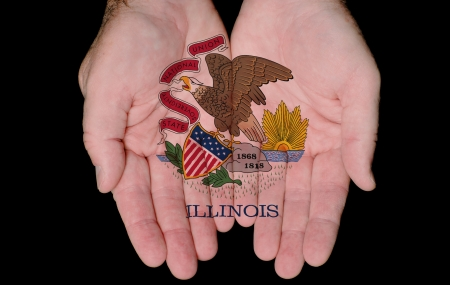 Illinois State Flag Seal Painted On Hands Showing The Concept Of Having Illinois In Our Hands photo