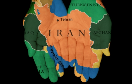 Map Painted On Hands Showing The Concept Of Having Iran In Our Hands Stock Photo