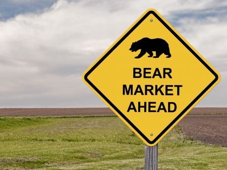 Caution Sign _ Bear Market Ahead - Stock Market Stock Photo