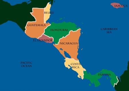 mapa de el salvador: Mapa de Central Amerca Foto de archivo
