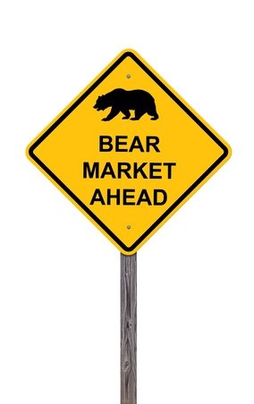 Bear Market Ahead - Caution Sign Isolated On White