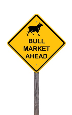 Bull Market Ahead - Caution Sign Isolated On White Stock Photo