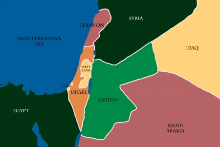 Colored Map Of Israel And Palestine