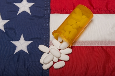 Prescription Medicine On The American Flag Stock Photo